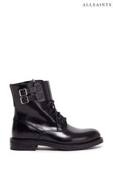 AllSaints Black Brigade Zip Polido Leather Boots