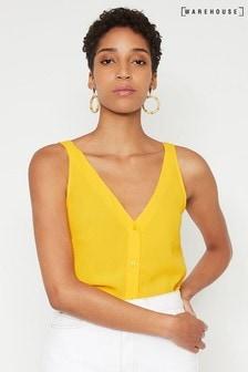 Warehouse Yellow Button V-Neck Shell Top