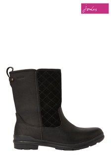 Joules Black Harlington Waterproof Leather Boots