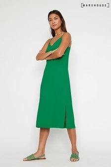 Warehouse Green Cross Back Midi Cami Dress