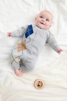 Argyle Pattern Knitted Romper (0mths-3yrs)