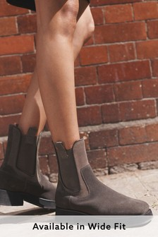 Leather Square Toe Chelsea Boots