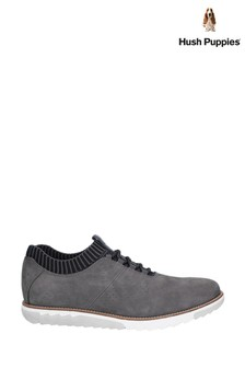 Hush Puppies Grey Expert Knit Oxford Lace-Up Trainers