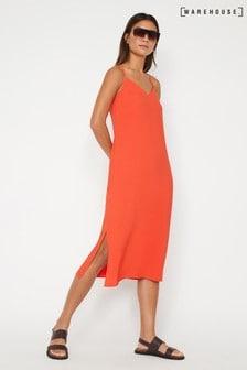 Warehouse Orange Cross Back Midi Cami Dress