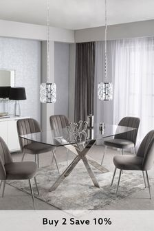 Alessa Glass 6 Seater Dining Table