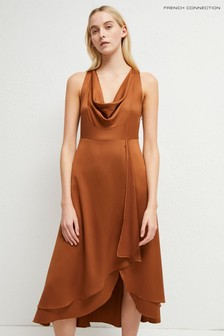 French Connection Brown Alessia Satin Cowl Neck Dress