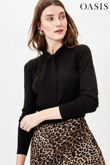 Oasis Black Pussy Bow Knit Jumper