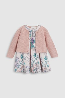 Floral Prom Dress And Cardigan (0mths-2yrs)