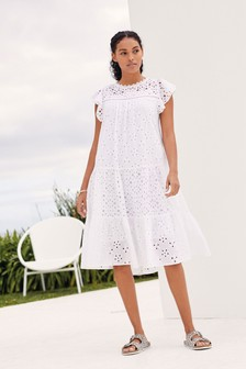 Broderie Ruffle Sleeve Midi Dress