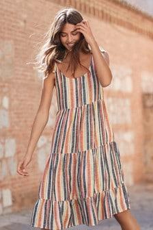 Tie Shoulder Linen Blend Dress