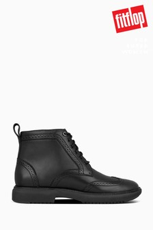 FitFlop™ Black Odyn Lace-Up Brogue Boots