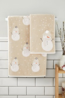 Natural Snowman Towel
