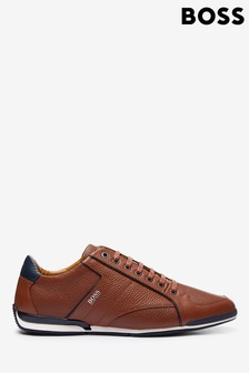 BOSS Brown Saturn Trainers
