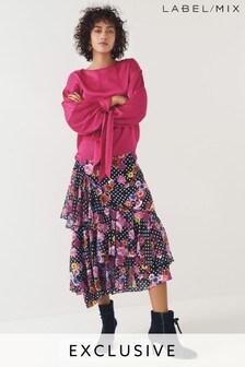 Mix/Natasha Zinko Floral Print Ruffle Skirt