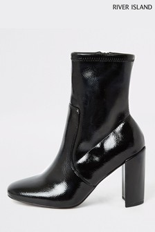 River Island Black Patent Sock Boots