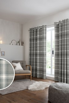 Cosy Check Eyelet Lined Curtains
