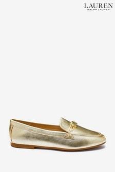 Lauren Ralph Lauren Gold Tone Averi Leather Loafers