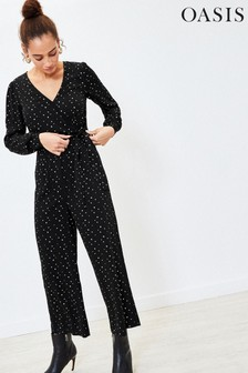 Oasis Black Star Print Jumpsuit
