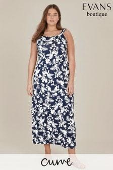 Evans Curve Navy Floral Print Maxi Dress