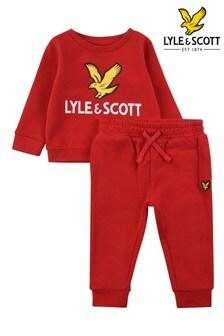 Lyle & Scott Boys Red Eagle Logo Crew And Joggers Set