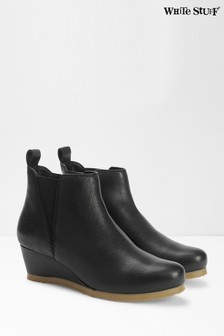 White Stuff Black Issy Leather Ankle Boots