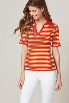 Stripe Frill Polo