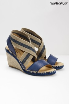 White Stuff Blue Penny Espadrille Wedges