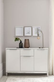 Modella White Gloss Slim Large Sideboard with Drawer