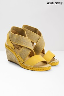 White Stuff Yellow Penny Espadrille Wedges