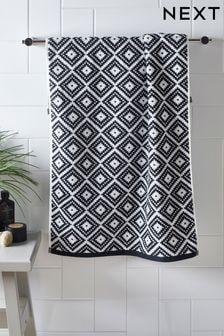 Black/White Diamond Geo Towel