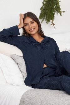 Button Through Floral Jacquard Satin Pyjamas