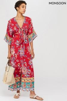 Monsoon Red Ariel Tie Front Maxi Dress