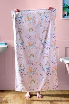 Pink Unicorn and Rainbows Towel