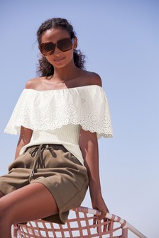 Broderie Off The Shoulder Top