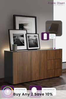 Frank Olsen Smart LED Grey and Walnut Sideboard