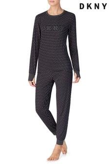 DKNY Black Stars Cosy Top And Joggers Pyjama Set