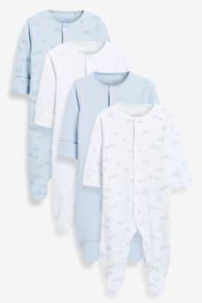 4 Pack Cotton Elephant Sleepsuits (0-2yrs)