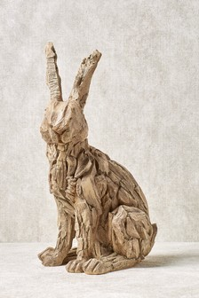 Wood Effect Rabbit Sculpture