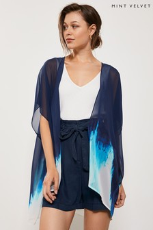 Mint Velvet Blue Hope Print Kimono
