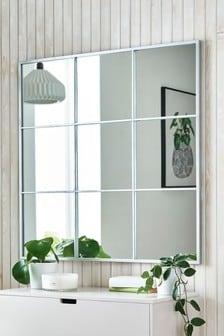 Silver Effect Window Square Mirror