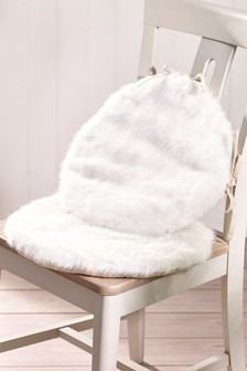 Set of 2 Faux Fur Seat Pads
