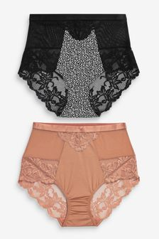 Micro Lace High Waist Knickers 2 Pack