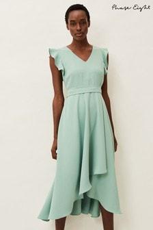 Phase Eight Green Aurelia Frill Dress