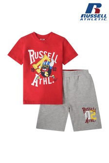 Russel Athletic Sporting Rugby Bean T-Shirt And Shorts Set