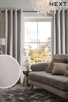 Grey Matte Velvet Eyelet Lined Curtains