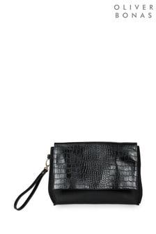 Oliver Bonas Black Croc Panel Clutch Bag
