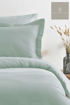 The Linen Yard Green Waffle Duvet Cover And Pillowcase Set