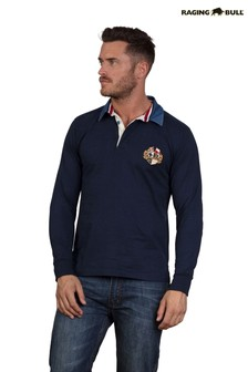 Raging Bull Blue Long Sleeve Signature Heritage Rugby Top