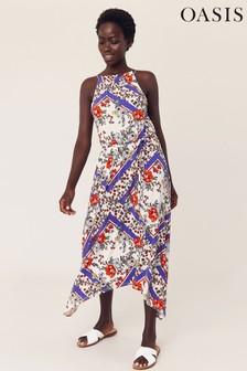 Oasis Natural Scarf Hanky Hem Maxi Dress