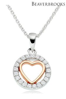 Beaverbrooks Silver Rose Gold Plated Cubic Zirconia Heart Pendant